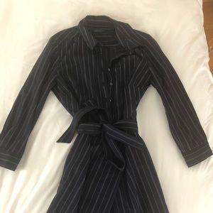 Navy blue pinstriped dress